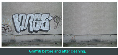 Graffiti before and after cleaning